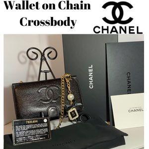 CHANEL French Wallet on Chain Crossbody Caviar